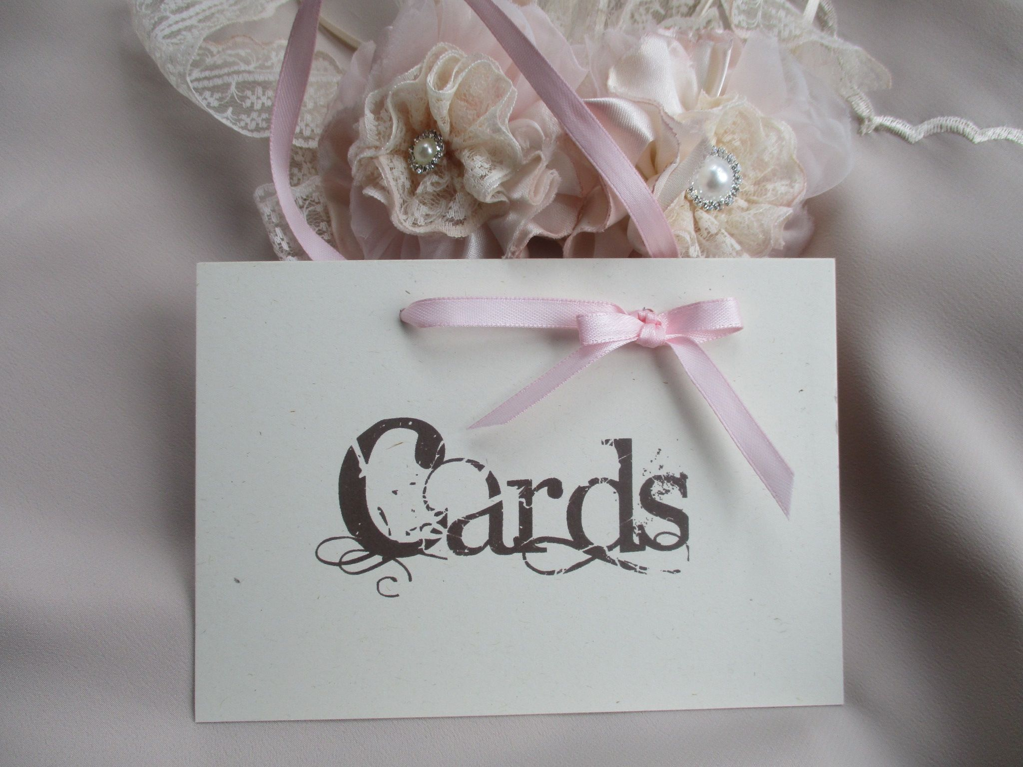 Wedding Cards Sign Vintage Style With Ribbon Hanger
